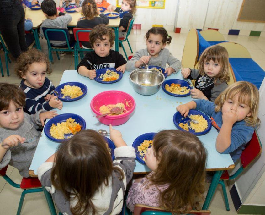 ילדי טופ גן יושבים לאכול